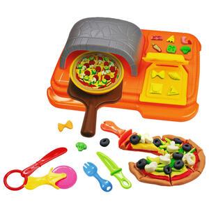 Simba Knetset pizzaofen , Pizzaset A&f , Anthrazit, Blau, Braun, Gelb, Grau, Orange , Kunststoff , 5.5x28x28.5 cm , geprägt , nicht zum Verzehr geeignet , 004130000502