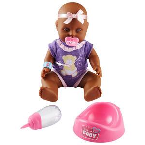 Simba Babypuppe , 486068 , Braun, Lila, Rosa , Kunststoff , 30 cm , bewegliche Gliedmaßen, ausziehbare Kleider, Trinkfunktion, Nässfunktion , 004939002201