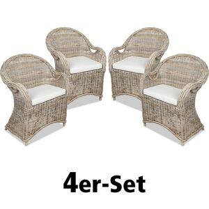 Rattansessel Athena mit Sitzkissen Natural-Grey 4er-Set