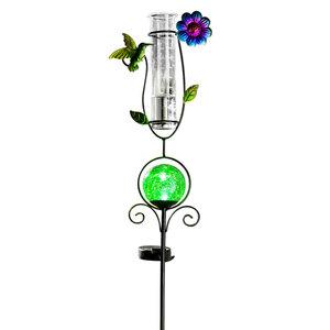 I-Glow LED Solar Stecker mit Regenmesser, Kolibri