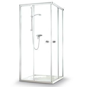 Eckdusche mit Schiebetüren 'Beta' Klarglas, Sondermaß bis 120 x 200 cm