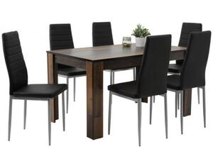 7-teilige Tischgruppe Mareike Old Wood nachbildung/schwarz