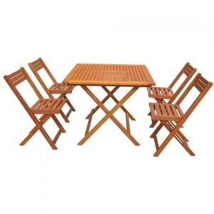 Balkon Set Möbel 5tlg. SAN DIEGO Eukalyptus 4Stühle Garten Balkon Tischgruppe