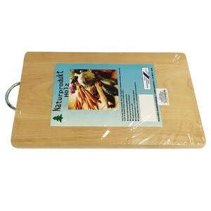 Holz Schneidbrett mit Metallbügel 33x21,5x1,7cm