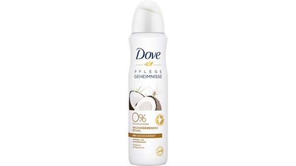 Dove 0% Deo-Spray Pflegegeheimnisse Regenerierendes Ritual Kokos- und Jasminblütenduft