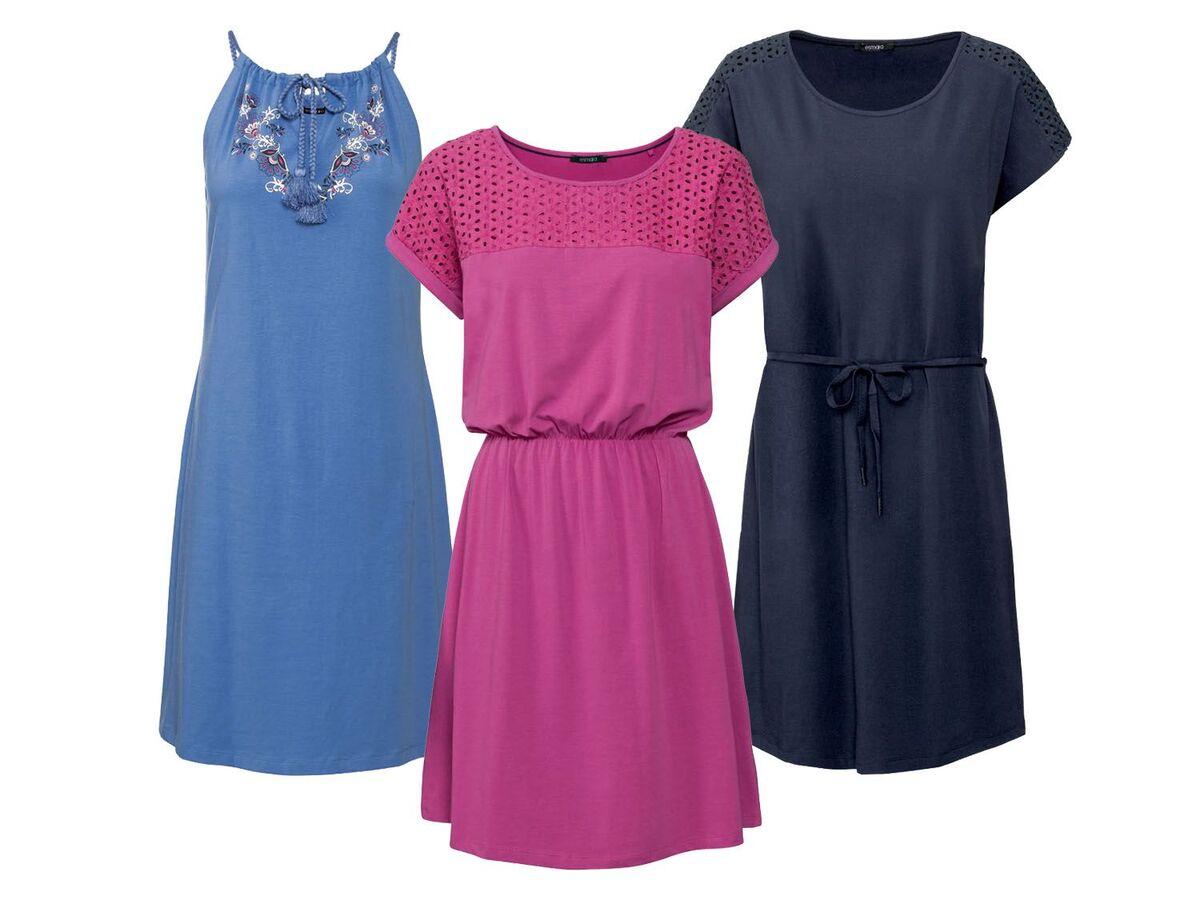 Bild 1 von ESMARA® Kleid Damen, Rundhalsausschnitt, mit Baumwolle und Elasthan