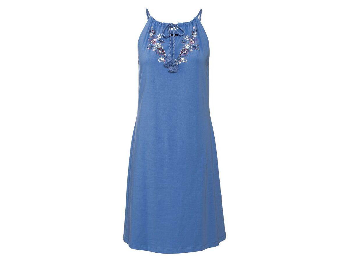 Bild 2 von ESMARA® Kleid Damen, Rundhalsausschnitt, mit Baumwolle und Elasthan