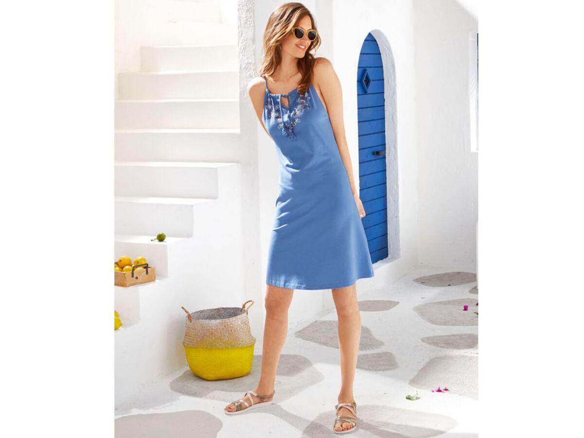 Bild 5 von ESMARA® Kleid Damen, Rundhalsausschnitt, mit Baumwolle und Elasthan