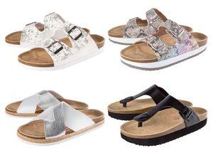 ESMARA® Pantolette Damen, anatomisch geformtes Fußbett, mit Textil und Leder
