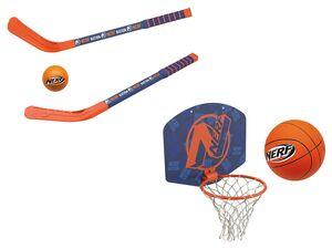 NERF Manschaftsspiele, Mini-Hockeyschläger mit Ball oder Mini-Basketball-Set
