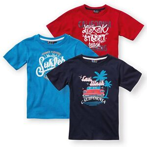 Kinder T-Shirt, 3er Pack navy/ briljant blau/ rot, Größe 110/116