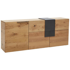 Voglauer Sideboard wildeiche furniert, mehrschichtige massivholzplatte (tischlerplatte) geölt anthrazit, eichefarben  , V-Taurino , Holz , 2 Fächer , 1 Schubladen , 192.2x82x48.2 cm , pulverbeschic