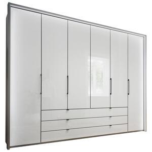 Novel Kombischrank 6-türig grau, weiß  , Kreta , Holzwerkstoff , 3 Schubladen , 300x216x58 cm , Nachbildung , 000442001901