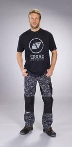 T-Shirt mit Rundhals und Frontdruck, Farbe schwarz-blau TERRAX WORKWEAR
