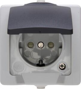 Kopp Feuchtraum-Steckdose Nautic ,  mit Klappdeckel, grau