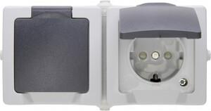 Kopp Feuchtraum-Steckdose Nautic ,  mit Klappdeckel, 2-fach, waagerecht, grau