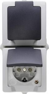 Kopp Feuchtraum-Steckdose Nautic ,  mit Klappdeckel, 2-fach, senkrecht, grau