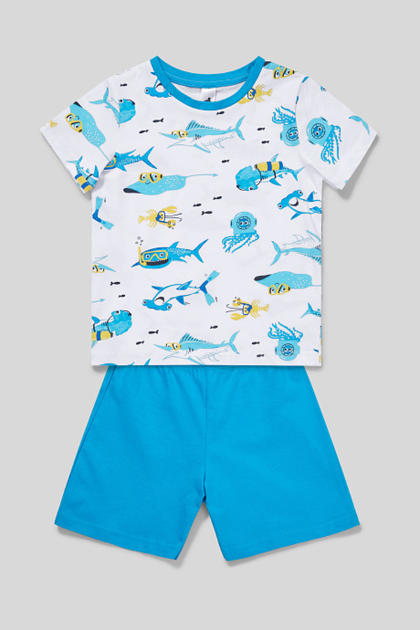 C&A Shorty-Pyjama-Bio-Baumwolle-2 teilig, Weiß, Größe: 134