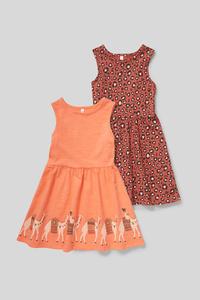 C&A Kleid-Bio-Baumwolle-2er Pack, Rot, Größe: 140