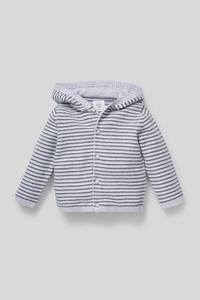 Baby-Strickjacke - Bio-Baumwolle - gestreift