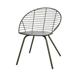 Gartenstuhl aus Metall mit Gitterlehne, 62,2x58,5x79cm, olivgrün