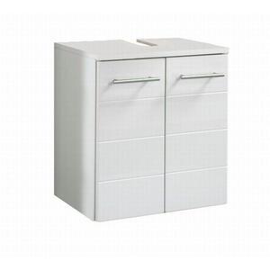 Carryhome Waschbeckenunterschrank weiß  , Rimini , Holzwerkstoff , Nachbildung,Nachbildung , 0 Fächer , 50x53x34 cm , Melamin,Hochglanz , hängend,hängend,hängend , 000307000201