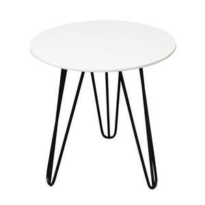 Carryhome Beistelltisch rund schwarz, weiß  , Walki , Metall , 40x42x40 cm , matt, pulverbeschichtet,matt, lackiert,Nachbildung , 007968002401
