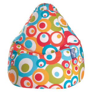 Carryhome Sitzsack kreise multicolor  , Malibu L , Türkis , Textil , 120 L , 70 cm , Indoor , 003354045813