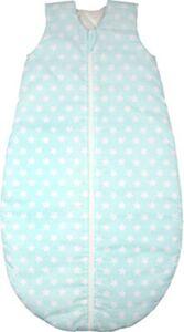 Ganzjahres-Schlafsack , white stars soft mint  Gr. 90cm