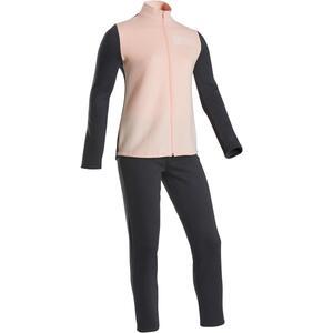 Trainingsanzug warm 100 Warmy Zip Gym Kinder hellrosa/grau