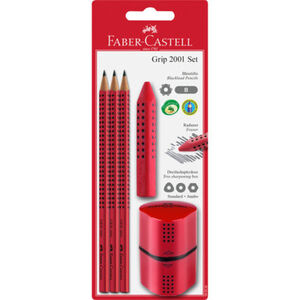 "Faber Castell Bleistift-Set ""Grip 2001"", inkl. Radierer + Anspitzer, rot"