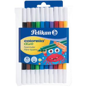 Pelikan Fasermaler Colorella® Duo Etui mit 10 Farben jeweils 2 Spitzen dick und dünn