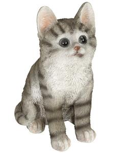 Dehner Polyresin-Katze, ca. B10/H18,5/T13 cm, grau-weiß