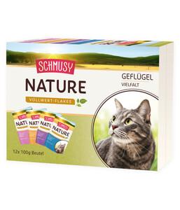 Schmusy Nature Vollwert-Flakes Geflügel Vielfalt, Multibox, 12 x 100g