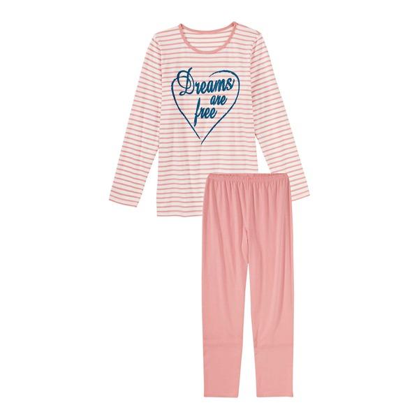 Mädchen-Pyjama mit Streifenmuster, 2-teilig