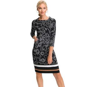 S.Oliver Black Label Kleid, kurz, 3/4-Arm, Rundhals, Mustermix, für Damen