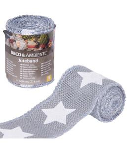 "Videx Juteband ""große Sterne"", 300 cm, grau-weiß"