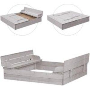 roba Sandkasten mit aufklappbare Sitzbank grau