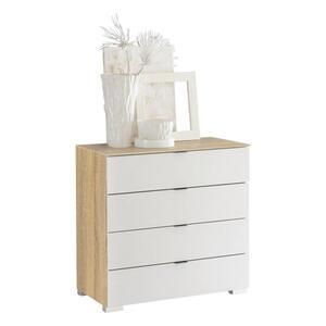 Moderano Kommode weiß, sonoma eiche , Delta , Glas , 4 Schubladen , 80x80x40 cm , glänzend,Nachbildung , Typenauswahl, stehend, in verschiedenen Größen erhältlich,Typenauswahl, stehend, in versc
