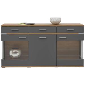 Hom`in Sideboard matt graphitfarben, eichefarben , Denver   -Hom In- , Glas, Holzwerkstoff , 3 Fächer , 3 Schubladen , 180.1x93.1x41.2 cm , matt,klar,Nachbildung , 000067004221