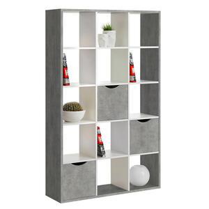 Carryhome Raumteiler grau, weiß , Quadro , 110x181x34 cm , Nachbildung , 000887021402