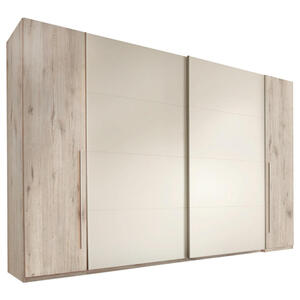 Carryhome Kleiderschrank 4-türig weiß, eichefarben , Match 2 , Holzwerkstoff , 10 Fächer , 315x225x61 cm , Nachbildung , 002522014410
