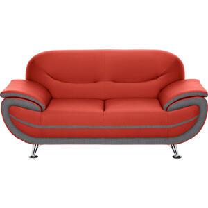 Ti`me Zweisitzer-sofa lederlook rot, dunkelgrau , Nena   -Time- , Textil , 175x85x87 cm , Lederlook , Typenauswahl, Stoffauswahl, Rücken echt , 000553003120