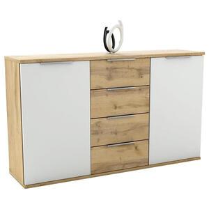 Carryhome Sideboard weiß, eichefarben , Capri , Holzwerkstoff , 2 Fächer , 4 Schubladen , 150x90x38 cm , Nachbildung , 002522023003