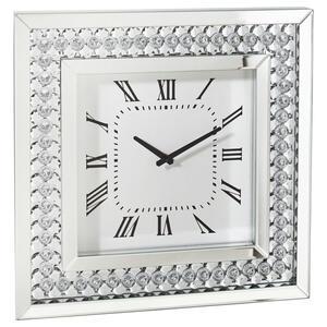 Xora Wanduhr silberfarben, weiß , Tiffany , Glas , 50x50x5 cm , lackiert,transparent,Nachbildung , 001047010401