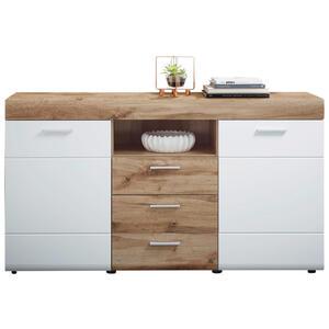 Xora Sideboard foliert weiß, eichefarben , Lyon , Holzwerkstoff , 4 Fächer , 3 Schubladen , 160x87x44 cm , foliert,Nachbildung , 001937000802