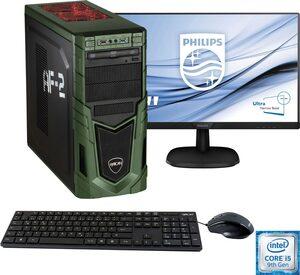 Hyrican »Military Gaming 6481 + Philips 243V7Q« PC-Komplettsystem (24 Zoll, Intel Core i5, GeForce, 16 GB RAM, 1000 GB HDD, 480 GB SSD, inkl. Office-Anwendersoftware Microsoft 365 Single im Wert vo