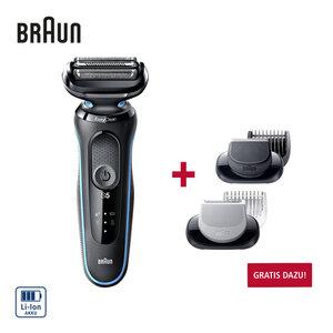 Rasierer Series 5 50-M1000s · optimale Anpassung an die Gesichtskontur dank drei flexibler Klingen · EasyClean System · 50 min. Rasierdauer  · 5 min. Schnellaufladung