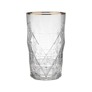 UPSCALE 6x Longdrinkglas mit Goldrand 460ml