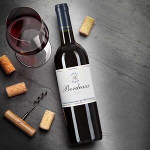 Frankreich Rothschild Bordeaux rouge AOC trocken, eine dunkle Beerenaromatik nach Pflaume und Brombeere, intensiver Duft nach Waldboden und einer feinen würzigen Note jede 0,75-l-Flasche